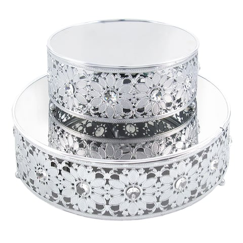 Silver Daisy Flower Cutout Metal Cake Stand Dessert Display