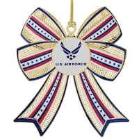 "3.25"" 24K Gold Finish US Air Force 3D Christmas Bow Ornament"