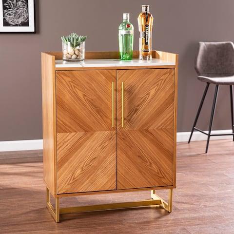 Carbon Loft Tacuba Midcentury Modern Brown Wood Bar Cabinet
