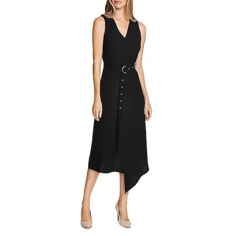 Vince Camuto Womens Midi Dress V-Neck Belted - Rich Black