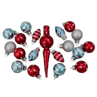 """Link to 19ct Red and Blue Frosted Glass Christmas Ornaments and Tree Topper Set 5.25"""" Similar Items in Christmas Greenery"""