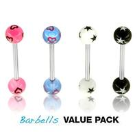 4 Pcs Pack of Assorted Color Surgical Steel Barbells with Stars or Hearts Patterned UV Balls