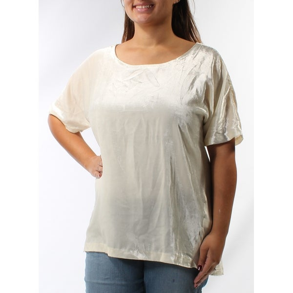 LUCKY BRAND Womens Ivory Zippered Short Sleeve Boat Neck HiLo Top Plus Size: XL