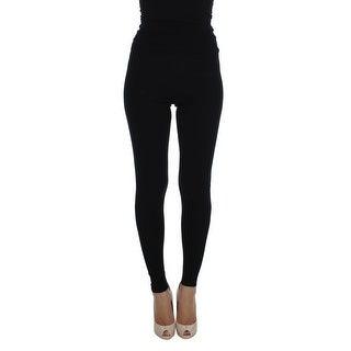 Dolce & Gabbana Dolce & Gabbana Black Cashmere Stretch Waist Tights Pants - it40-s