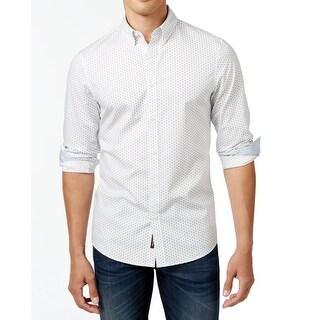 Michael Kors NEW White Mens Size 2XL Geometric Print Button Down Shirt