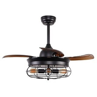 Industrial Black 36.5-inch Foldable 4-Blades Iron Ceiling Fan