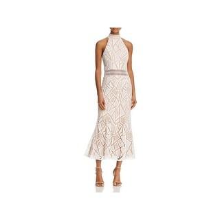 Jarlo Womens Spring Evening Dress Lace Illusion Flounce Hem