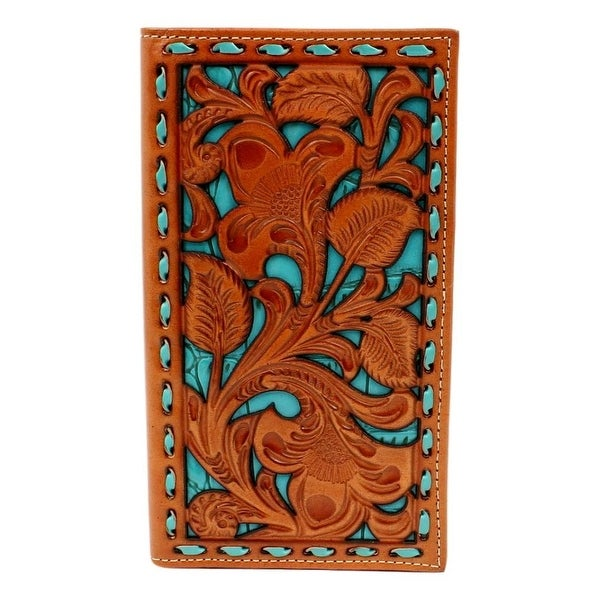 Nocona Western Wallet Mens Rodeo Buck Lace Underlay Turquoise - 6 3/4 x 3 3/4