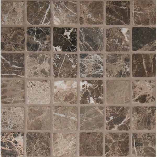 "MSI SMOT-2X2-T Emperador - 2"" Square Mosaic Tile - Tumbled Marble Visual - Sold by Carton (10 SF/Carton) - Emperador Dark"