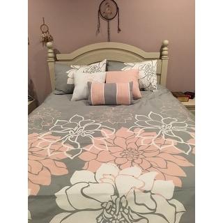 Madison Park Brianna Grey/ Blush Cotton Sateen Printed 6-piece Duvet Cover Set