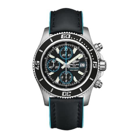 Breitling Men's A1334102-BA83-227X 'Superocean' Chronograph Black Leather Watch