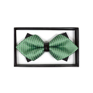 Men's Green Geometric Diamond Tip Bow Tie - DBB3030-23 - regular
