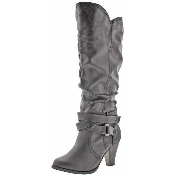 Not Rated By Naughty Monkey Winter Women's Strappy Buckle Heel Knee-High Boots
