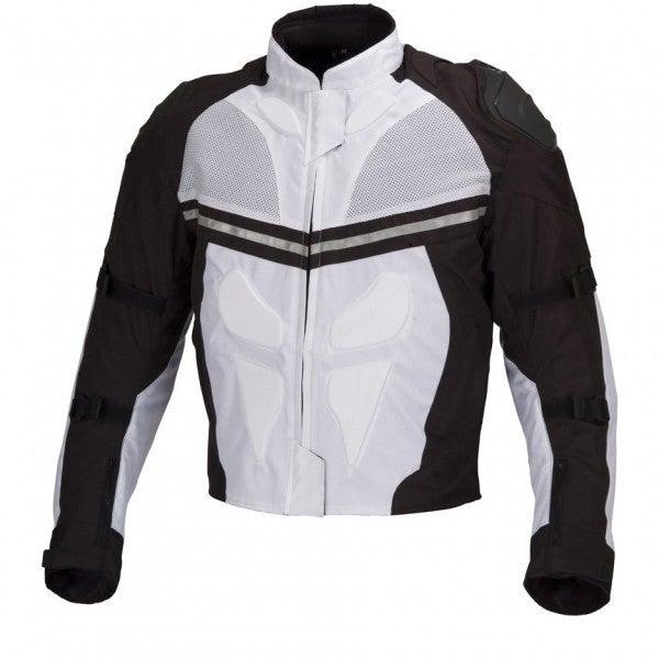 Men Motorcycle Textile Waterproof Windproof Jacket Black & White MBJ068