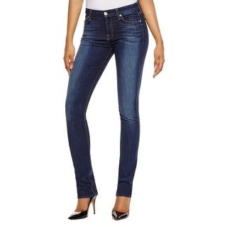 7 For All Mankind Womens Kimmie Straight Leg Jeans Dark Wash Mid-Rise