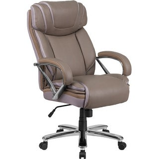 Aberdeen Big & Tall Taupe Leather Executive Swivel Chair w/Extra Wide Seat