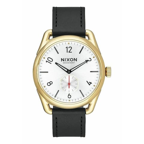 Nixon Men's A459-2226 'C39 Leather' Black Leather Watch - White