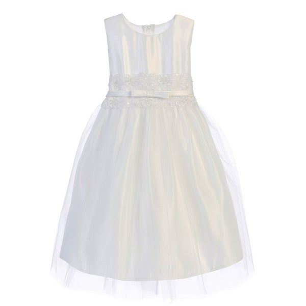 c64bfebb2c228 Shop Sweet Kids Girls White Satin Lace Bow Tulle Flower Girl Dress 7-16 -  Free Shipping On Orders Over  45 - Overstock.com - 18166316