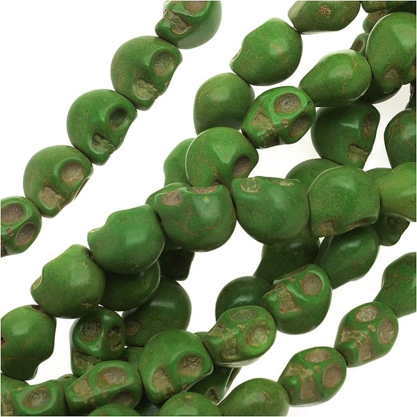 Dyed Magnesite Gemstone Beads, 6mm Mini Skulls 15 Strand, 1 Strand, Lime Green