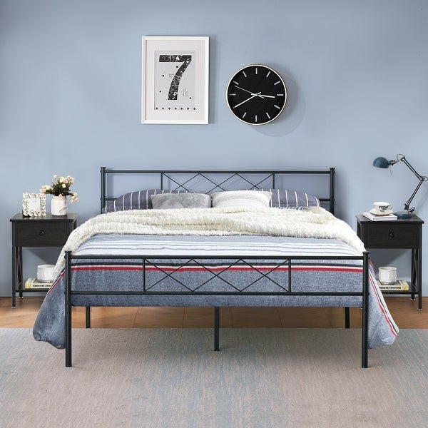 Taomika 3 Pieces Metal Platform Bed Frame with Modern Nightstands Sets. Opens flyout.
