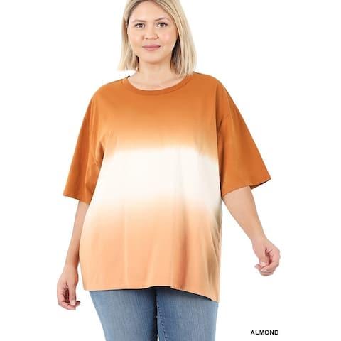 JED Women's Cotton Dip Dye Oversized Tunic T-shirt