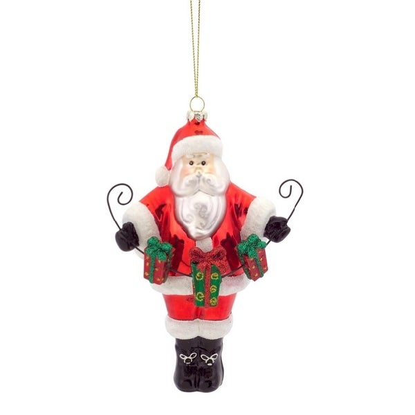 """Pack of 8 Santa Claus with Gift Box Garland Glass Christmas Ornaments 6.5"""""""