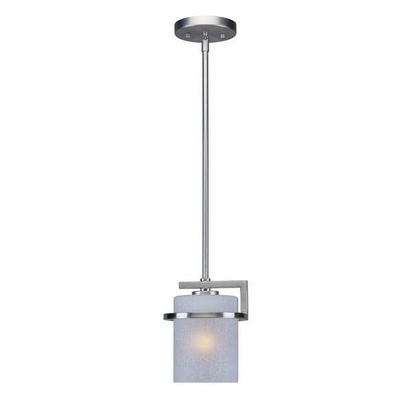 "Forte Lighting 2405-01 6.5"" Wide 1-Light Mini Pendant with White Linen Glass Shade"