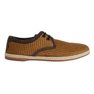 Dolce & Gabbana Brown Woven Raffia Leather Laceup Shoes - 39