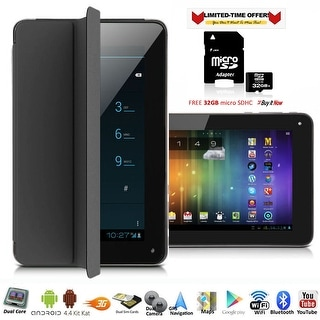"""Indigi® 7"""" 3G Factory Unlocked 2-in-1 Phablet Android 4.4 SmartPhone & TabletPC w/ Built-in Smart Cover + 32gb microSD(Black)"""