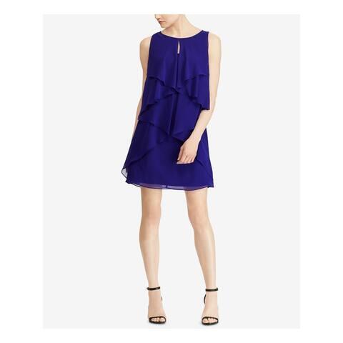 RALPH LAUREN Womens Blue Sleeveless Mini Shift Party Dress Size 12