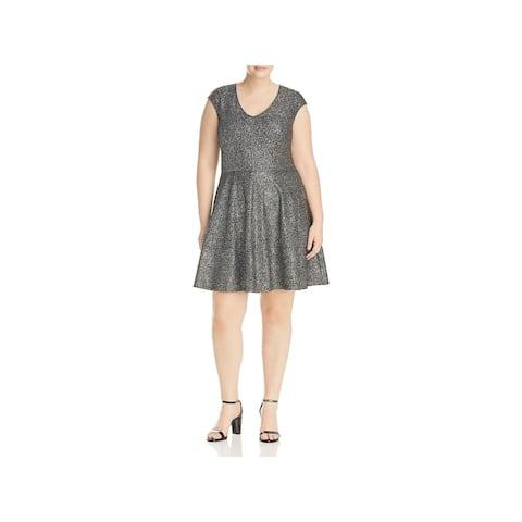 Love Ady Womens Plus Oil Slick Skater Dress Metallic Fit & Flare