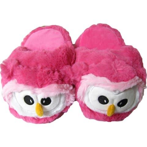Kreative Kids Little Girls Pink White Owl Shaped Plush Slippers 12 Kids
