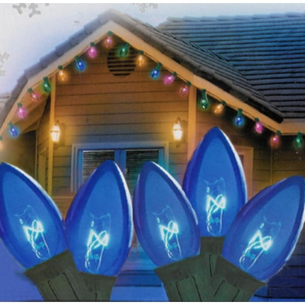 "Set of 25 Transparent Blue C9 Christmas Lights 12"" Spacing - Green Wire"