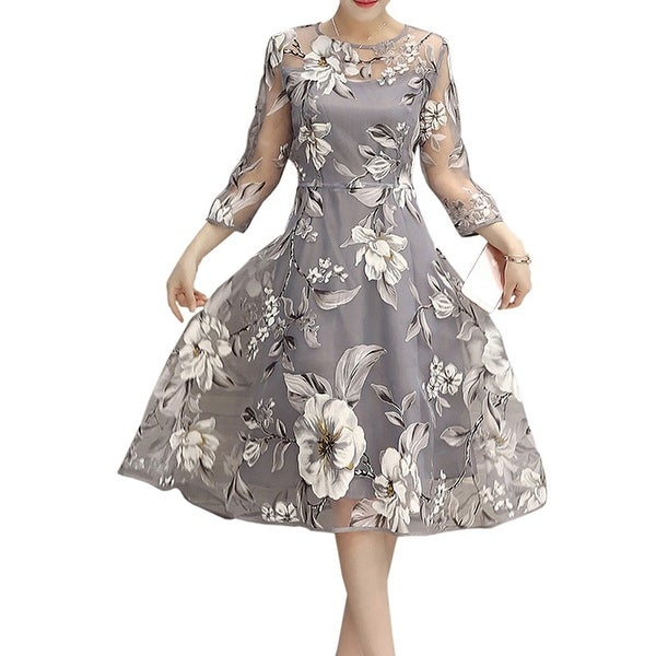 Three-Quarter Sleeve Floral Print Chiffon A-line Dress