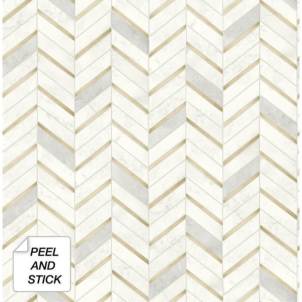 NextWall Chevron Marble Tile Peel and Stick Wallpaper. Opens flyout.