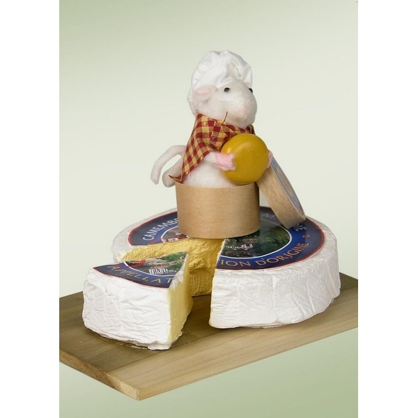 "7.25"" Decorative White Mouse on Cheese Tray Table Top Christmas Figure"