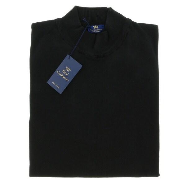 Real Cashmere Mock Neck Big Mens Black Sweater
