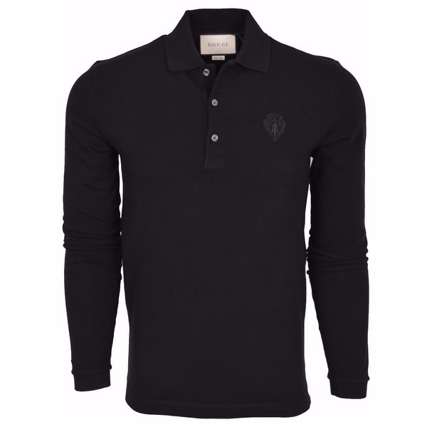 df3cd3a2 Gucci Men's 441690 Black SLIM Fit Hysteria Crest Cotton Polo Shirt Medium