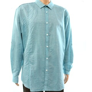INC NEW Blue Mens Size 2XL Linen Blend Button Down Shirt Cotton