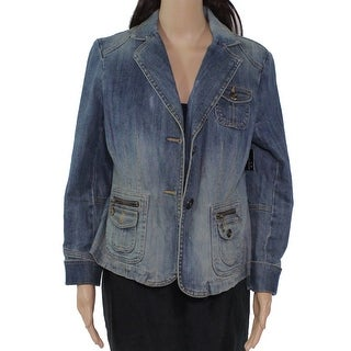 Link to INC Women's Jacket Blue Size Medium M Mid Wash Notch Collar Denim Similar Items in Women's Outerwear