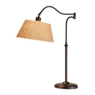 """Adesso 3348 Rodeo 1 Light 20.5"""" Tall Swing Arm Desk Lamp with Burlap Shade"""