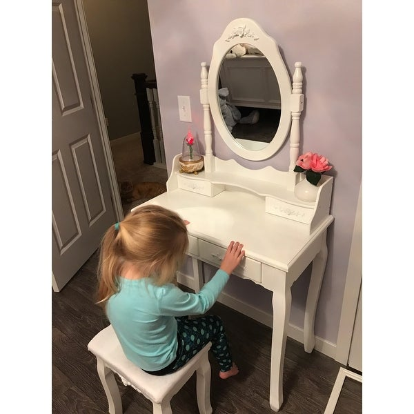 Costway White Vanity Wood Makeup Dressing Table Stool Set Bathroom With  Mirror + 4Drawers   Free Shipping Today   Overstock   23099902