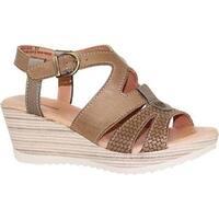 Dromedaris Women's Liz Ankle Strap Sandal Olive Waxed Leather