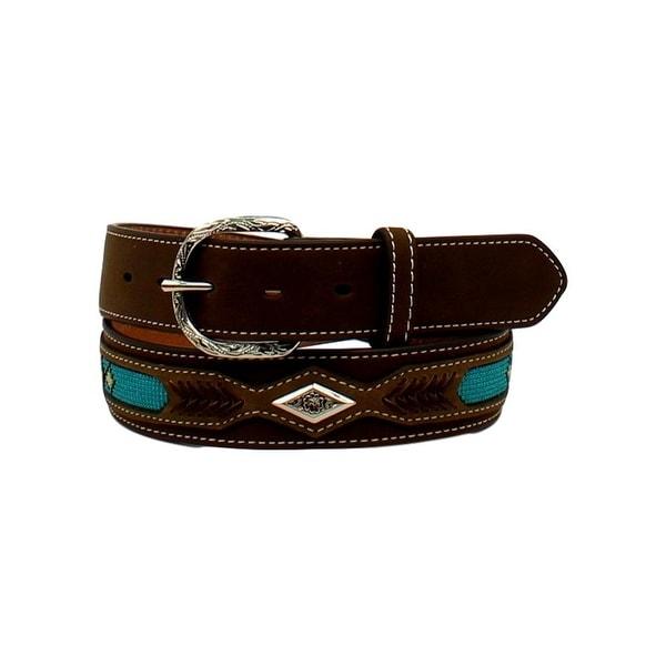 Nocona Western Belt Mens Top Hand Overlay Diamond Brown