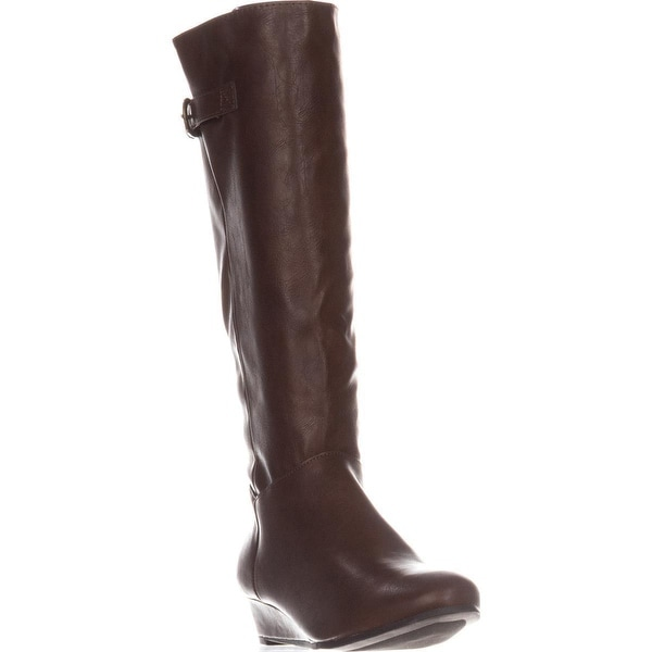 SC35 Rainne Wedge Mid-Calf Boots, Cognac