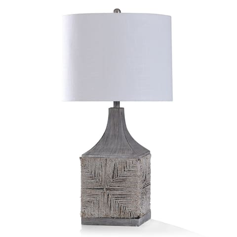 StyleCraft Pavesi White Washed Natural Rattan Woven Body Table Lamp with Hand Finished Top and Base