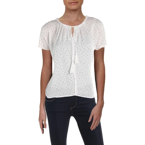 Aqua Women's Sheer Star Print V-Neck Blouse Top White Size Large
