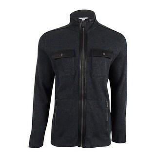 Calvin Klein Men's French Ribbed Jacket (Gunmetal Heather, L) - gunmetal heather - L