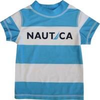 Nautica Baby Boys Blue White Striped Print Rash Guard Swim Shirt 12-24M