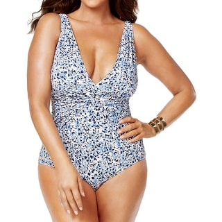 MICHAEL Michael Kors Womens Twist Front Floral Print One-Piece Swimsuit